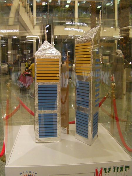 sculpture of the Emirates Towers made of aluminum foil