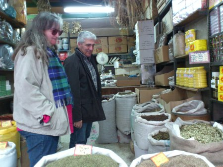 spice and herbs shop, large bags of wares on the floor