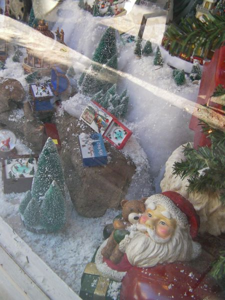 a Christmas tableau in a store window
