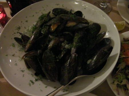 Large bowl of mussels