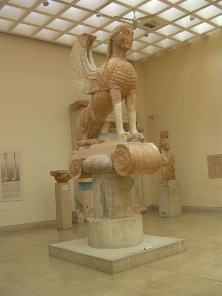 sphinx statue inside a museum