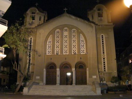 front of the church at night