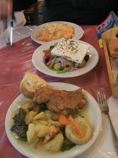 canaloni, Greek salad, chicken, artichoke hearts