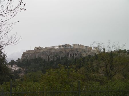 the Acropolis hill from below