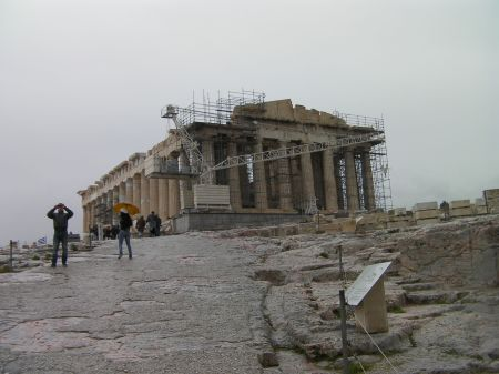 the Parthenon - colonnaded ruined building