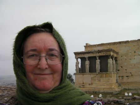 my face with the Erechtheion building in the background