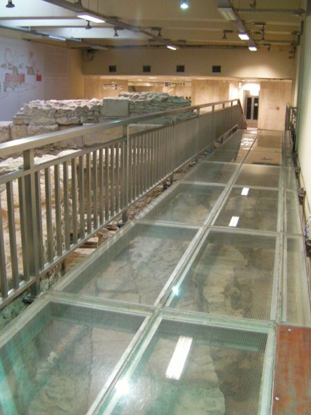 plasti-glass walkway over the ruins