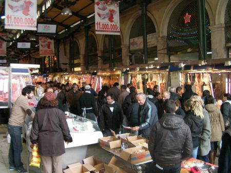crowded meat market