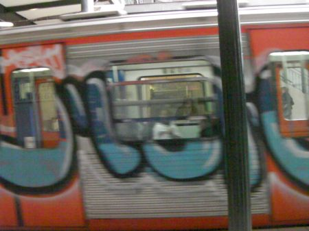 graffiti on the side of a train
