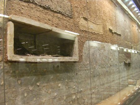 showcase wall showing excavated levels and graves
