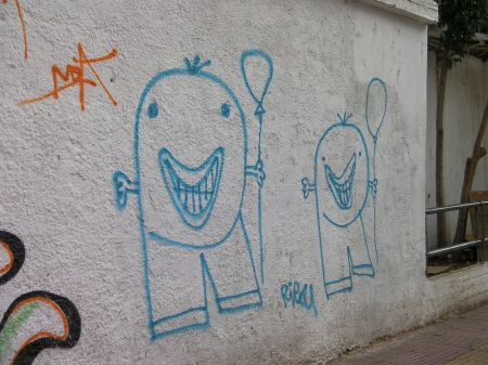 graffiti - two big headed smiley guys with balloons