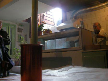 open basement door and the kitchen area