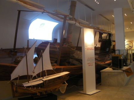 forty foot pearling boat and other items on display