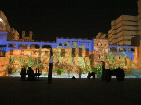 garden scene projected on the side of the fort