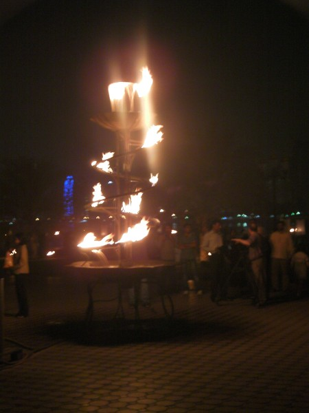 flaming water fountain