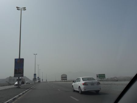 dusty haze and no hills visible