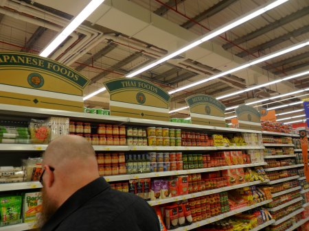 ethnic food sections - japanese, thai, mexican, russian