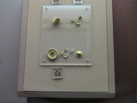 tiny gold buttons and beads