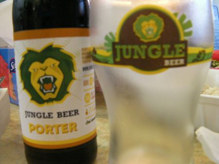 bottle of Jungle Beer brand porter beer