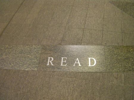 "flooring that states ""read"""
