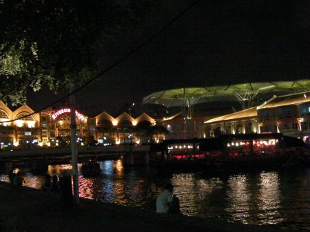 riverside lined with restaurants