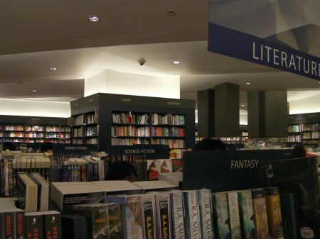 sections of the bookstore separating fantasy from science fiction