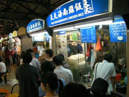 chicken rice food booth, long line of customers