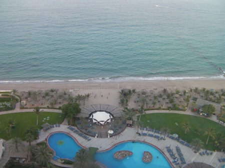view from top floor of pool and beach