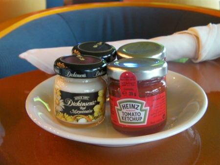 ketchup & mayonnaise in miniature jars