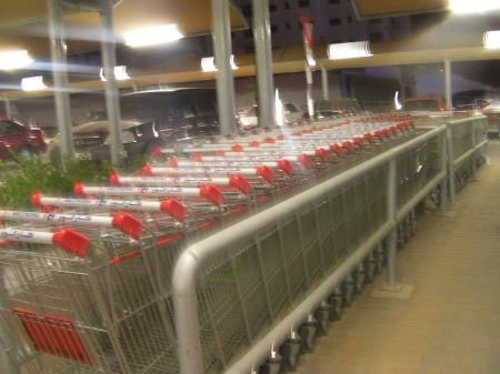 shopping carts in the return space