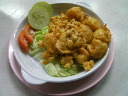 prawns covered in salted egg and deep fried