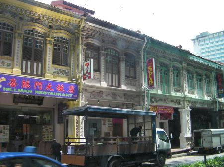 colorfully painted two story buildings