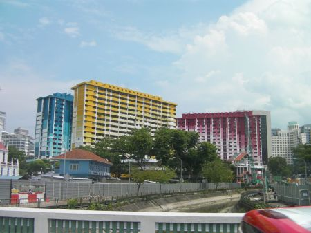 colorfully painted high rise apartment buildings