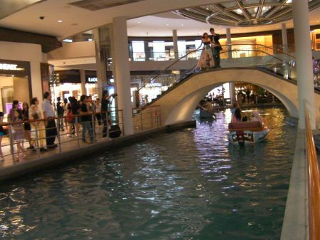 indoor canal with gondola boats