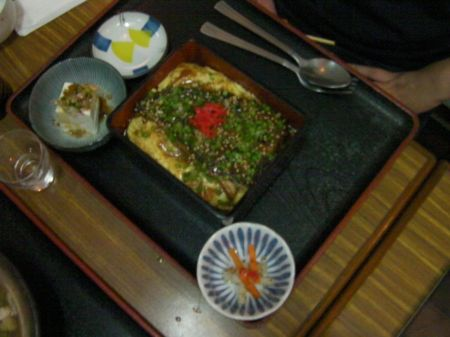 eel, scrambled egg, rice