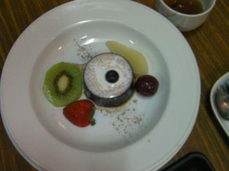 sliced fruit and a round gelatin dessert