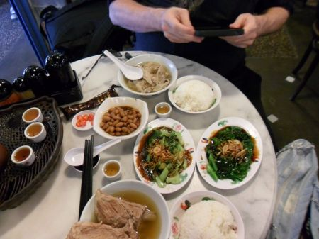 pork rib soup, pork stomach soup, rice, greens, peanuts