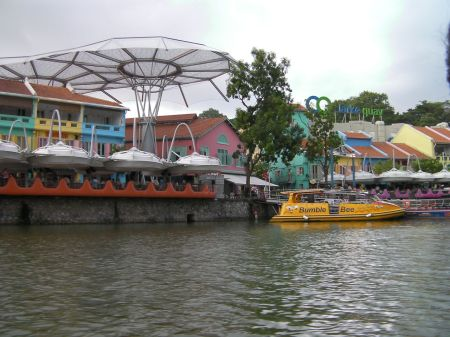 Clarke Quay seen from the river