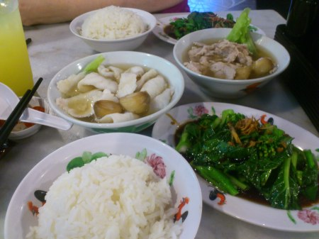 rice, greens, fish soup, pork soup