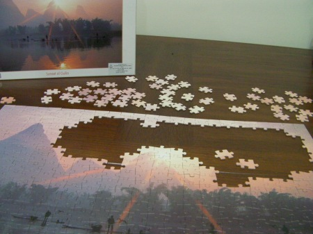 puzzle almost done, except for the sky section