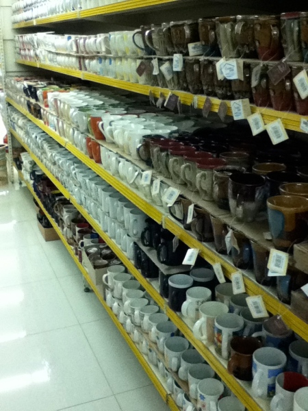 entire store aisle with nothing but coffee mugs