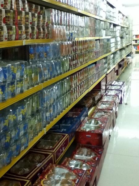 entire store aisle of glassware