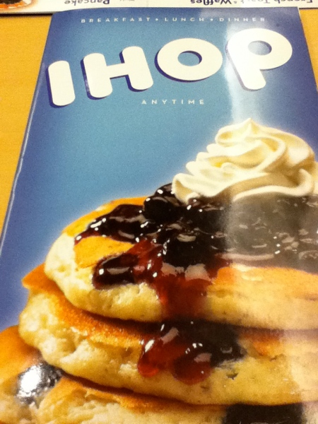 IHOP menu cover