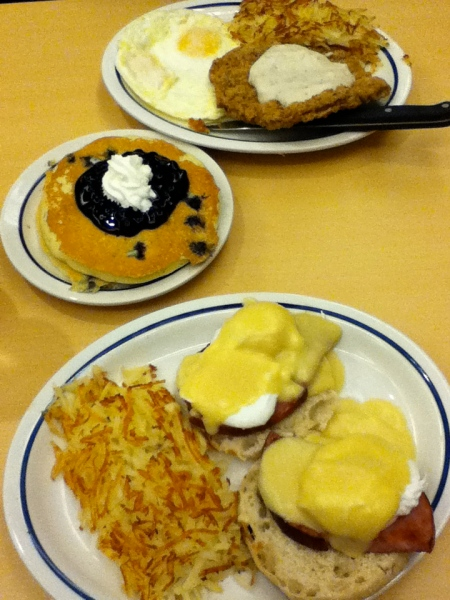 eggs benedict, hash browns, blue berry pancakes, country fried steak, fried eggs