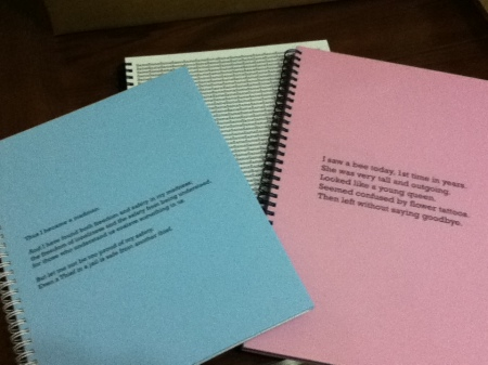 three spiral bound blank books