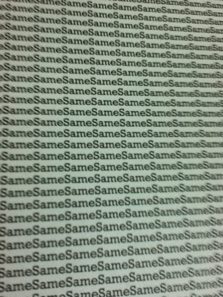 "close up of the cover showing the word ""same"" repeated over and over"