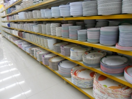 entire store aisle of plastic dishes