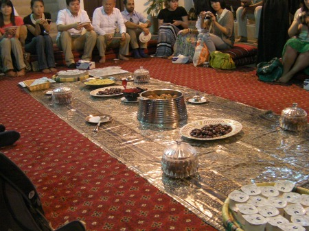 dessert dishes laid out on the carpet