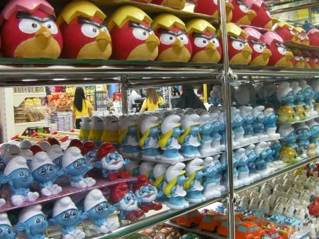 ceramic smurfs and red birds