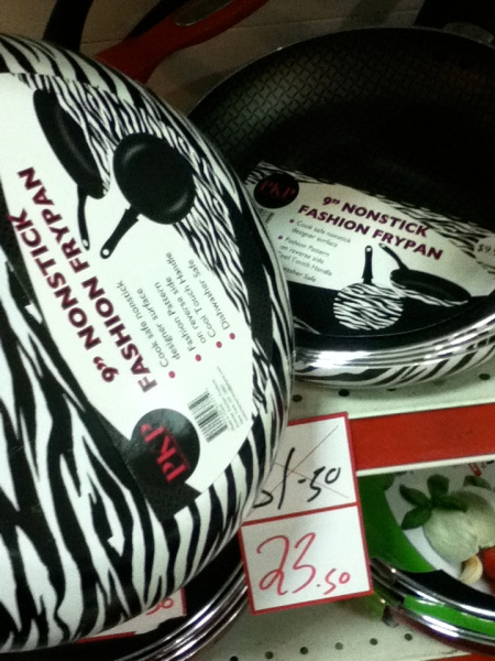 black and white striped frying pans